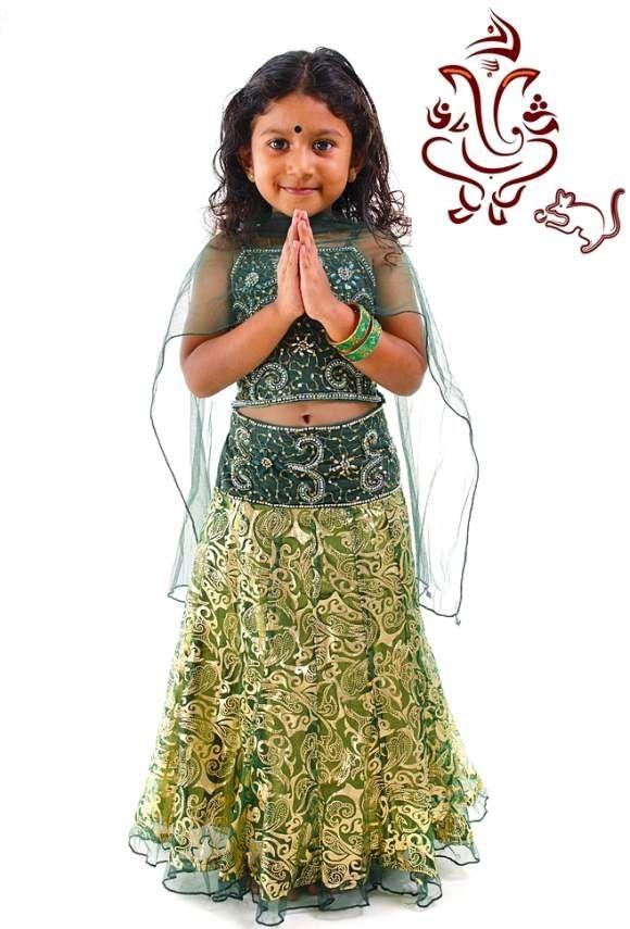 Traditional Lehenga Choli For Kids, Ganesh Chaturti - Nihal Fashions