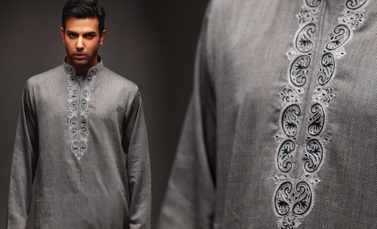 Embroidered Kurta For Menu2019s At NihalFashions - Indian Clothing Blog