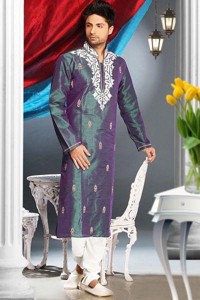 2 Ton Green Art Silk Designer Kurta Pajama (NMK-1603)