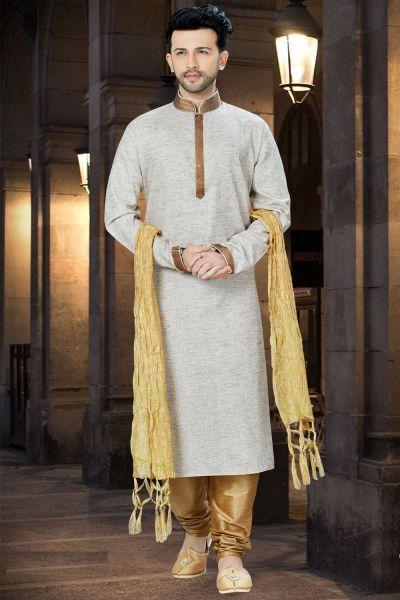 2 Toned Beige Cotton Regular Kurta Pajama (NMK-3758)