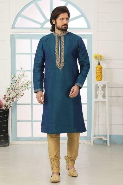 2 Toned Blue Art Banarasi Silk Kurta Pajama (NMK-5043)
