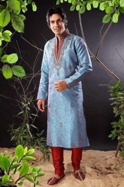 2 Toned Blue Art Dupion Designer Kurta (NMK-1147)