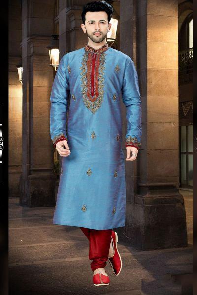 2 Toned Blue Art Dupion Designer Kurta Pajama (NMK-3774)