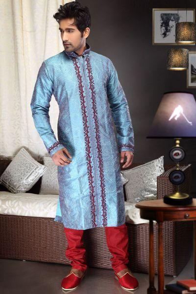 2 Toned Blue Art Dupion Kurta Pajama (NMK-1476)