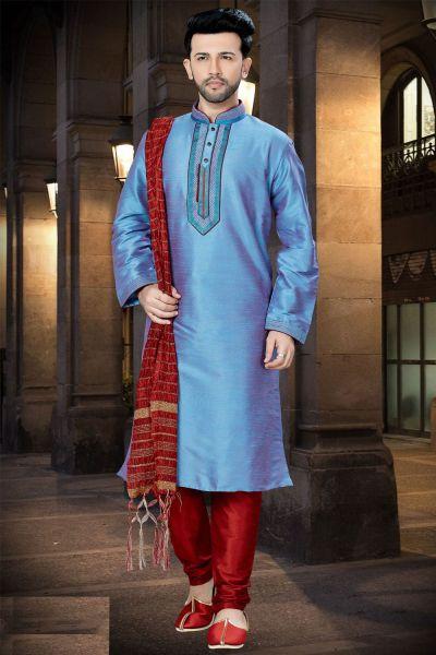 2 Toned Blue Art Dupion Regular Kurta Pajama (NMK-3760)
