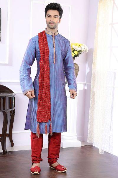 2 Toned Blue Art Silk Designer Kurta Pajama (NMK-4054)