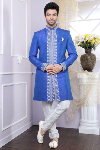 2 toned Blue Banglori Silk Indo Western Kurta (NMK-4095)