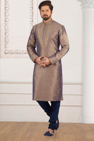2 Toned Brown, Blue Art Banarasi Silk Kurta Pajama (NMK-4013)