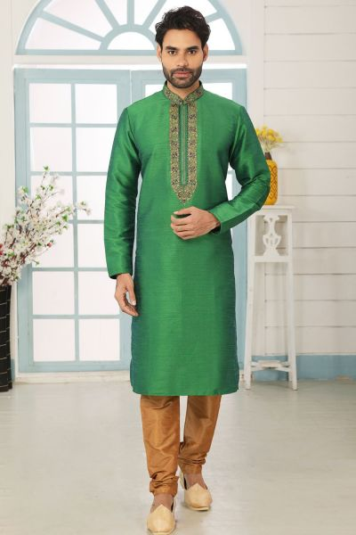 2 Toned Green Art Banarasi Silk Kurta Pajama (NMK-5060)