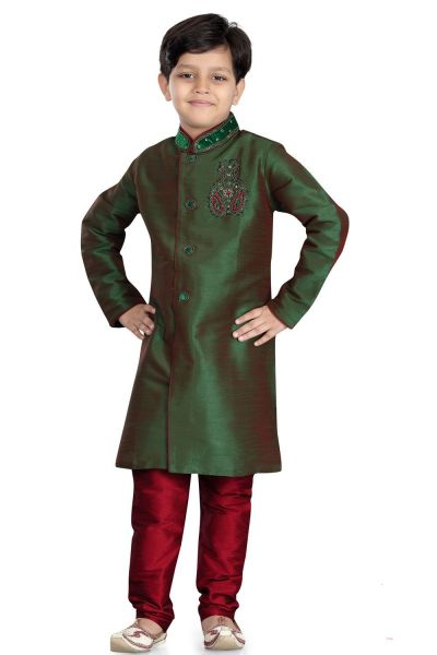 2 Toned Green Art Dupion Boys Sherwani (NKK-491)