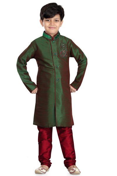 2 Toned Green Art Dupion Kids Sherwani (NKK-489)