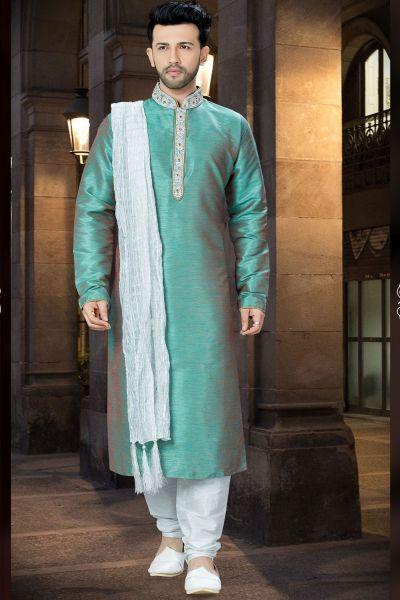 2 Toned Green Banglori Silk Kurta Pajama (NMK-3753)