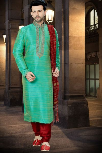 2 Toned Green Banglori Silk Mens Kurta Pajama (NMK-3790)