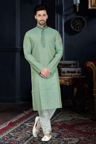 2 Toned Green Cotton Silk Kurta Pajama (NMK-3428)