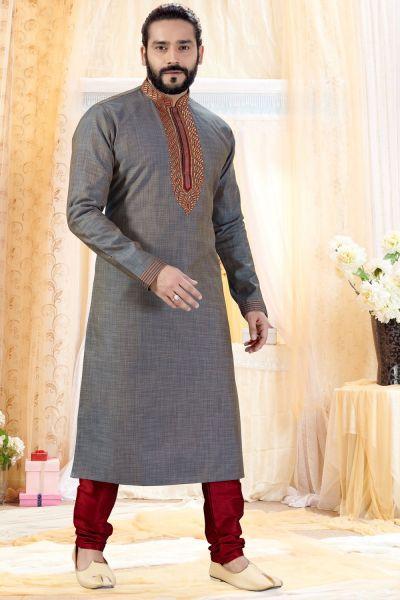 2 Toned Grey Cotton Silk Kurta Pajama (NMK-4252)