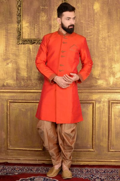 2 Toned Orange Art Banarasi Silk Indo western (NMK-3594)