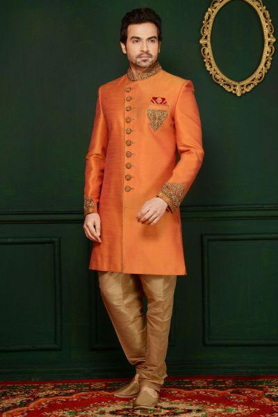 2 Toned Orange Art Banarasi Silk Indo Western (NMK-3634)