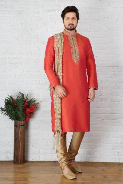 2 Toned Peach Art Banarasi Silk Casual Kurta Pajama (NMK-3734)