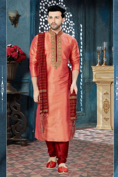 2 Toned Peach Banglori Silk Kurta Pajama (NMK-3820)
