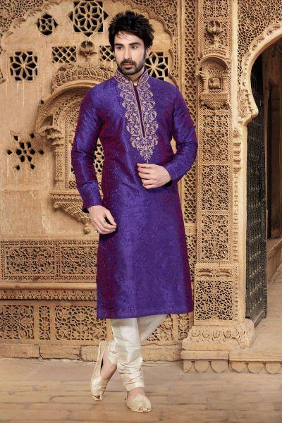 2 Toned Purple Art Dupion Kurta Pajama (NMK-2935)