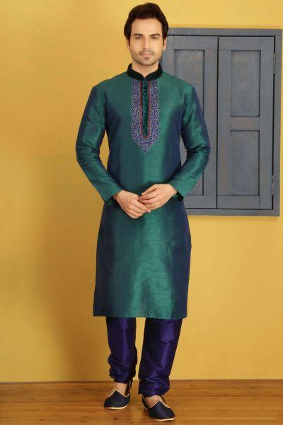 2 Toned Teal Art Banarasi Silk Casual Kurta Pajama (NMK-3695)