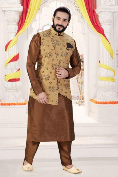 Antique Art Silk Jacket Style Kurta (NMK-4280)