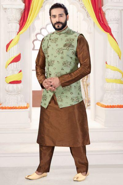 Antique Art Silk Nehru Jacket for Men (NMK-4282)
