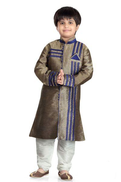 Antique Giccha Silk Kids Sherwani (NKK-486)