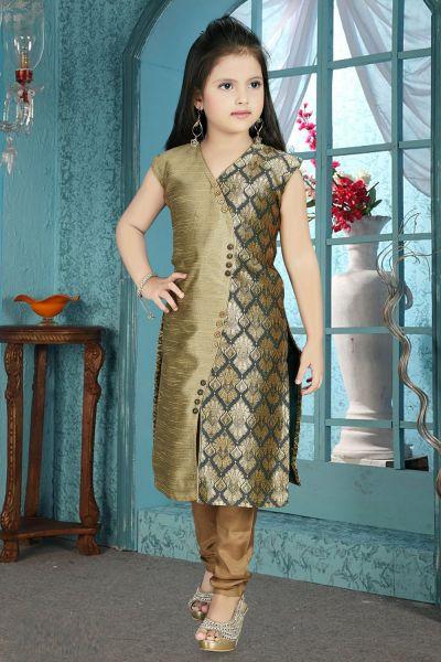 Antique, Green Nano Silk Girls Salwar Kameez (NFG-210)