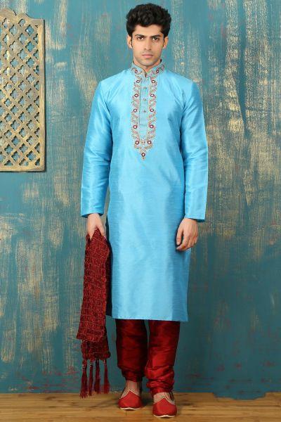 Aqua Blue Dupion Art Silk Kurta Pajama (NMK-3321)