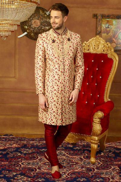 Beige Art Banarasi Silk Grooms Sherwani (NMK-3910)
