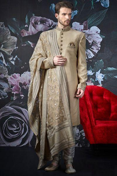 Beige Art Banarasi Silk Indo Western (NMK-4519)