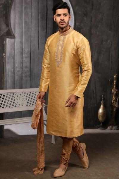 Beige Art Banarasi Silk Kurta Pajama (NMK-4411)