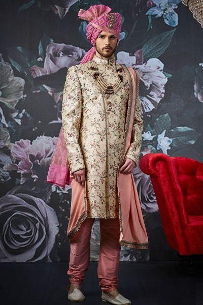 Beige Art Banarasi Silk Mens Sherwani (NMK-4531)