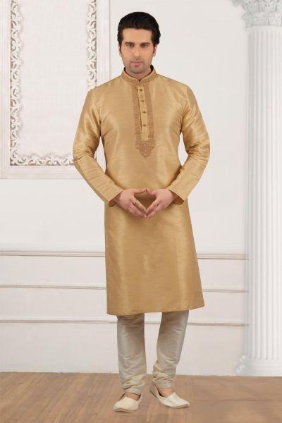 Beige Art Banarasi Silk Regular Kurta Pajama (NMK-4024)