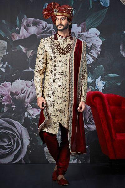 Beige Art Banarasi Silk Sherwani for Men (NMK-4532)
