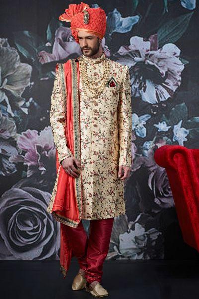 Beige Art Banarasi Silk Sherwani (NMK-4533)