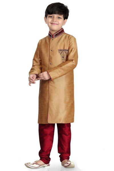Beige Art Dupion Kids Sherwani (NKK-483)