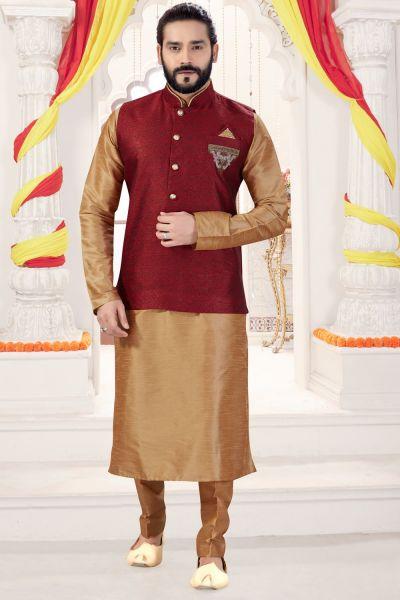 Beige Art Silk Jacket Style Kurta for Men (NMK-4275)
