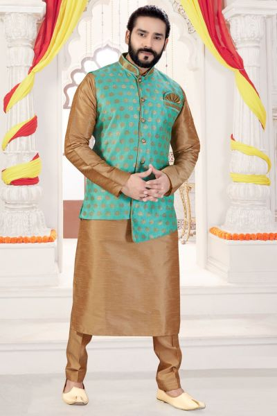 Beige Art Silk Jacket Style Kurta Pajama (NMK-4278)