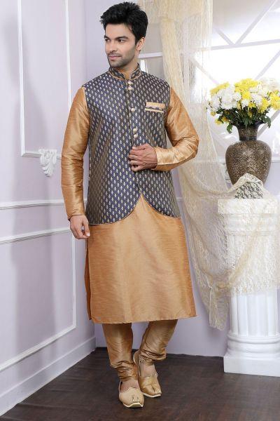 Beige Art Silk, Jaquard Jacket Style Kurta for Men (NMK-4081)