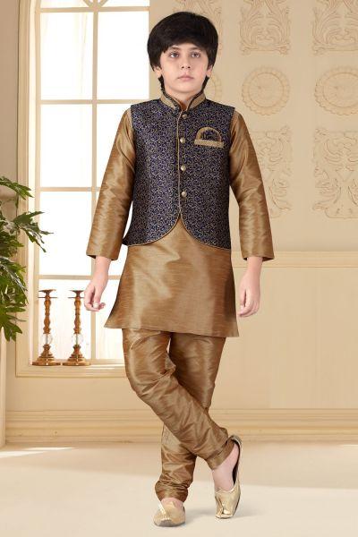 Beige Art Silk Kids Jacket Style Kurta (NKK-635)