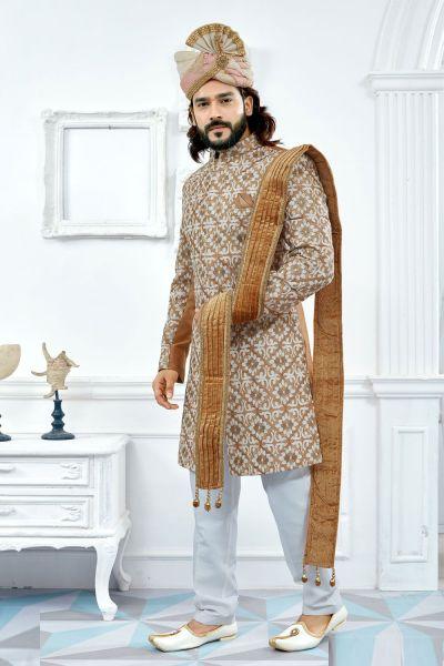 Beige Art Silk Sherwani (NMK-4115)