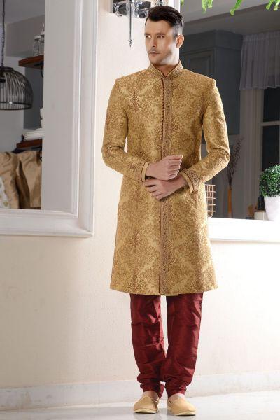 Beige Banarasi Silk Brocade Sherwani (NMK-3481)