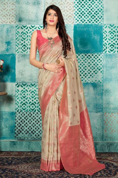 Beige Banarasi Silk Saree (NWSA-4609)