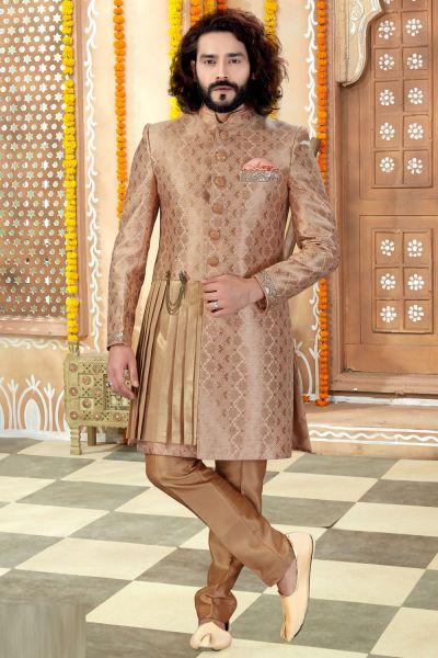 Beige Banarasi Silk Sherwani (NMK-4316)