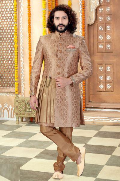 Beige Banarasi Silk Sherwani (NMK-4328)
