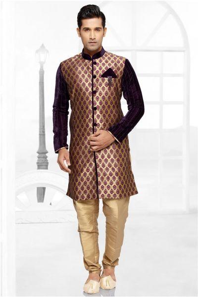Beige Brocade Art Silk Indowestern Kurta for Men (NMK-2739)