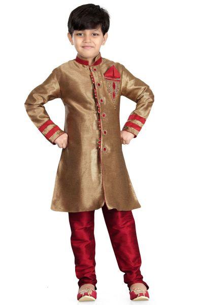 Beige Giccha Silk Boys Sherwani (NKK-479)