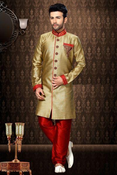 Beige Giccha Silk Indo Western Kurta for Men (NMK-3204)